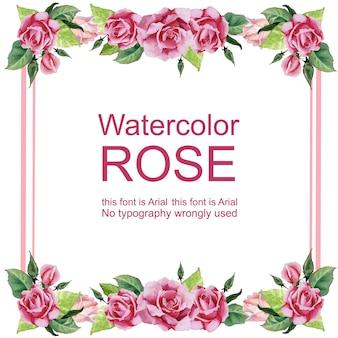 Borda do quadro de aquarela rosa