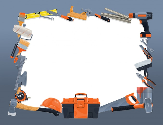 Borda do quadro de ferramentas de construção e reparo