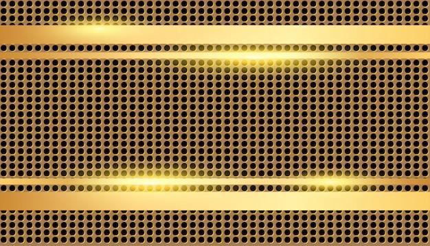 Borda dourada na textura perfurada de metal ouro