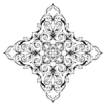 Borda e moldura em estilo barroco. cor preto e branco. decoração de gravura floral