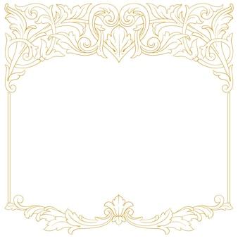 Borda e moldura em ouro com estilo barroco. elementos de ornamento