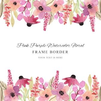 Borda elegante da moldura floral em aquarela rosa roxa