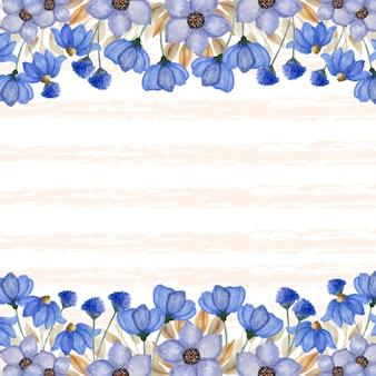 Borda elegante de flores azuis com linha de fundo abstrata Vetor Premium