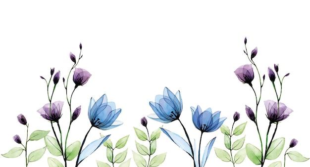 Borda em aquarela com flores transparentes desenho à mão vintage com flores silvestres azuis e roxas