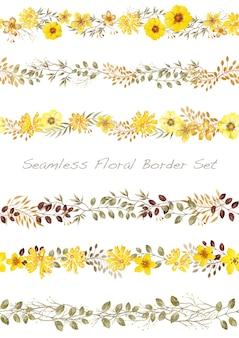 Borda floral aquarela de vetor sem costura definida em branco