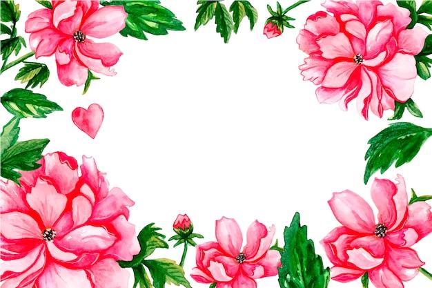 Borda floral com brotos vermelhos e folhas verdes