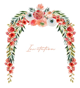 Borda floral de flores em aquarela de rosas vermelhas e brancas, flores silvestres, folhagens e ramos verdes