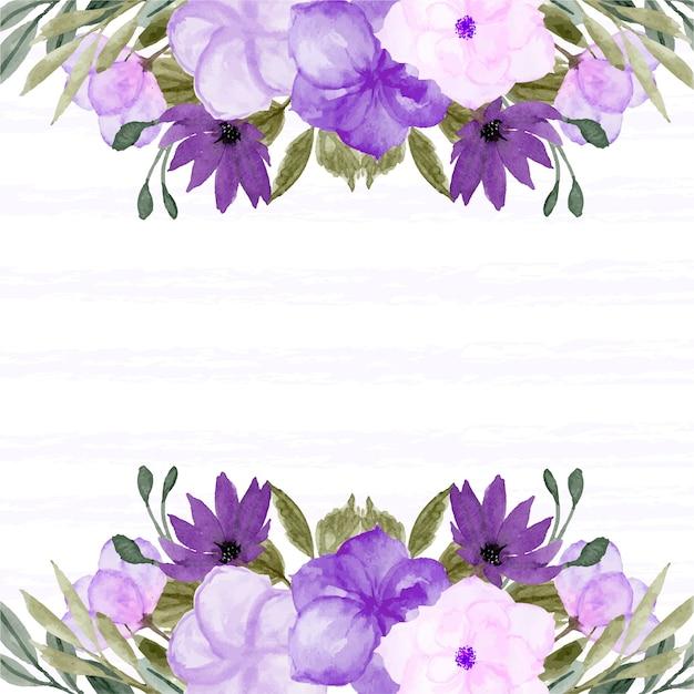 Borda floral de primavera com linda flor roxa