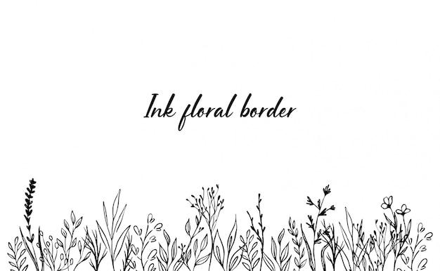 Borda floral de tinta desenhada de mão. campo de flores Vetor Premium