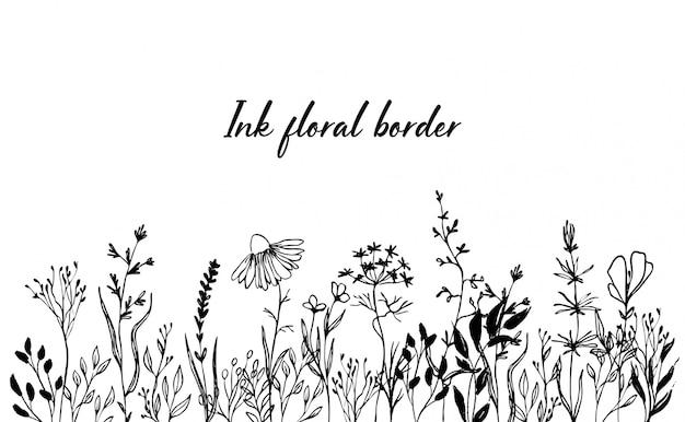 Borda floral de tinta desenhada de mão. flores, grama e folhas