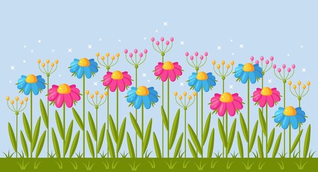 Borda floral do jardim com grama e flores