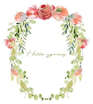 Borda floral em aquarela de folhagens verdes, rosas e flores silvestres