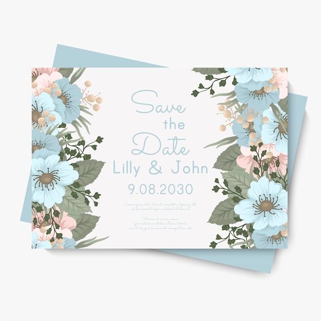 Borda floral fundo - flores azuis claras