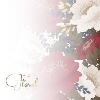 Borda floral fundo vermelho flores