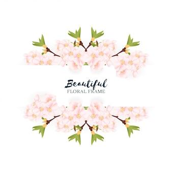Borda floral linda flor de cerejeira