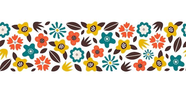 Borda floral moderna sem costura com flores multicoloridas e folhas em fundo branco