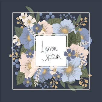 Borda floral - moldura azul com flores
