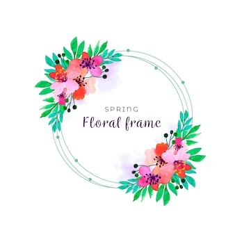 Borda floral primavera aquarela com folhas