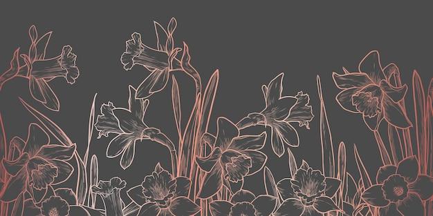 Borda floral rosa dourada sem costura em fundo cinza escuro. ilustração em vetor narcisos desenhados à mão