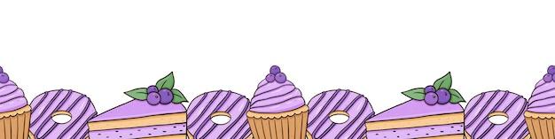 Borda horizontal sem costura com bolinhos donuts de mirtilo e bolos com frutas vermelhas
