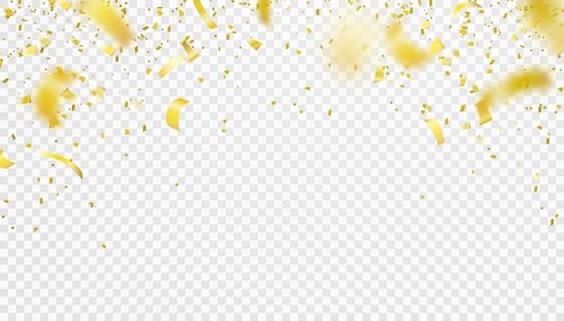 Borda isolada de confete caindo. projeto de decoração de ouropel voador de ouro brilhante. elemento desfocado.