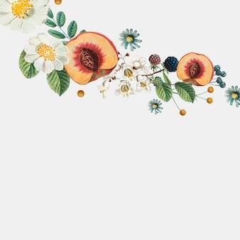 Borda lateral botânica com pêssegos