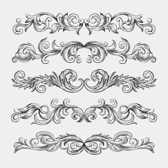 Borda ornamental desenhada de mão realista