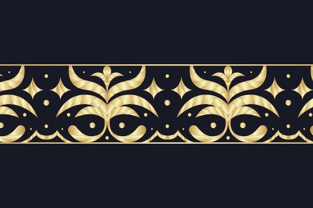 Borda ornamental dourada sobre fundo escuro