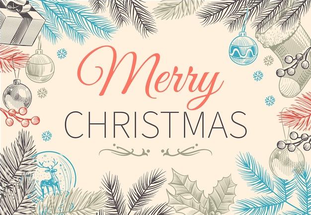 Borda perene de natal. feriado vintage verde inverno com ramos de azevinho e decoração botânica de baga moldura de cartão de convite