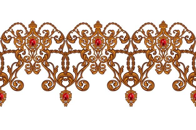 Borda perfeita em estilo rococó com pergaminhos dourados e rubis