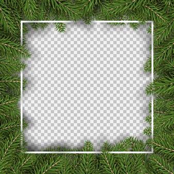 Borda quadrada de árvore de abeto de natal para ilustração vetorial de decoração e moldura