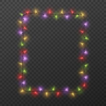 Borda quadrada de natal com lâmpadas brilhantes coloridas