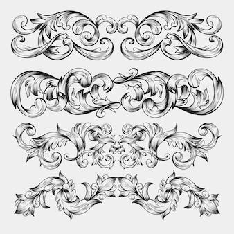 Borda realista desenhada de mão ornamentais