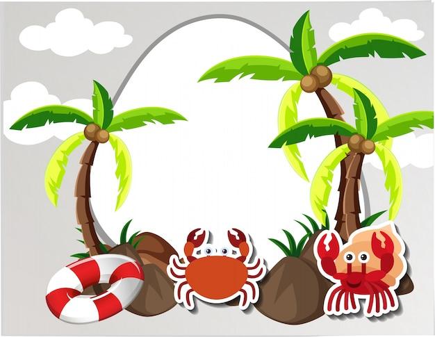 Borda redonda com caranguejos e coqueiros