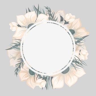 Borda redonda floral com flores fofas