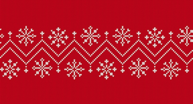 Borda sem costura de malha. padrão de natal. textura de malha vermelha.