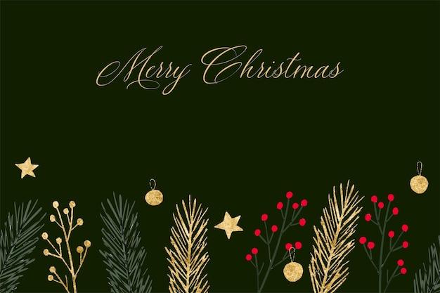Borda sem costura desenhada à mão para o natal com folhagem de baga de azevinho esfera estrela dourada ramo de abeto