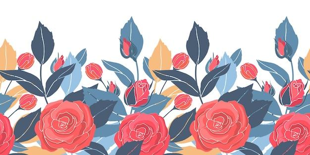 Borda sem costura floral arte com rosas vermelhas, folhas amarelas e azuis.