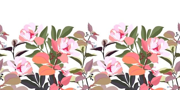 Borda sem costura floral com flores cor de rosa. flores no jardim com caules e folhas isoladas em um fundo branco.