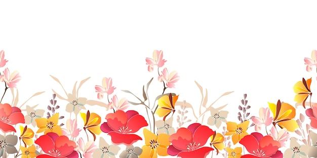 Borda sem costura floral. flores vermelhas e amarelas isoladas em um fundo branco.