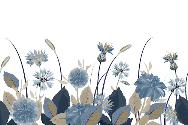 Borda sem costura floral. fundo da flor. padrão sem emenda com flores azuis, dálias, flores de cardos, folhas azuis, marrons. elementos florais isolados no fundo branco.