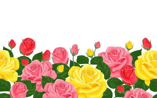 Borda sem costura floral horizontal com flores rosas amarelas, rosa e vermelhas.