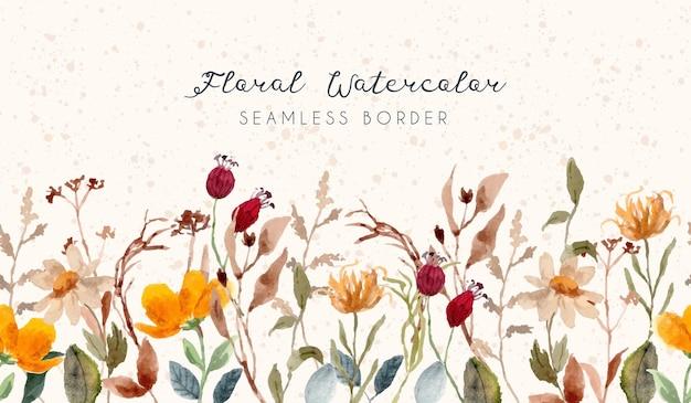 Borda sem costura vintage floral aquarela