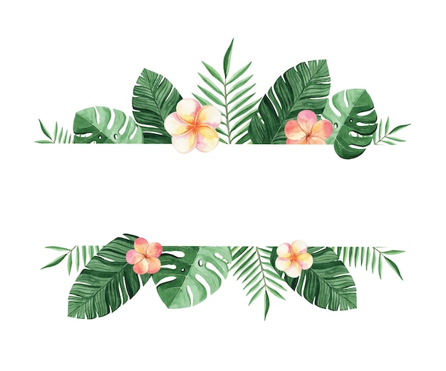 Borda tropical em aquarela com flores e folhas de palmeira isoladas no fundo branco