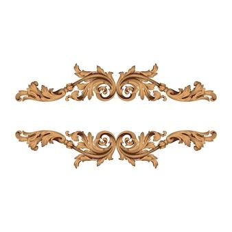 Borda vintage e moldura com estilo barroco. cor dourada. decoração de gravura floral