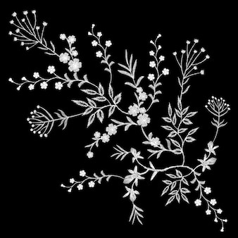 Bordado branco laço floral padrão pequenos ramos