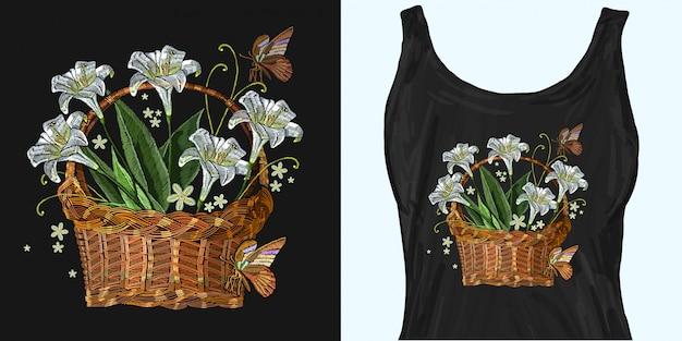 Bordado clássico de lillies brancos bonitos