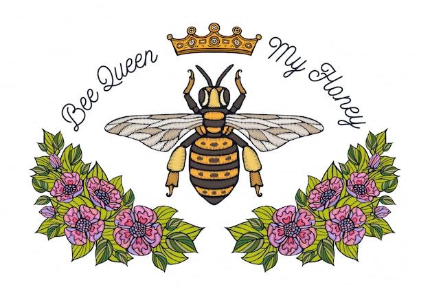 Bordado de flores de coroa de abelha. folha floral do abelha do abelha do mel bordado de insetos. desenhado à mão