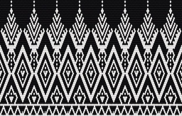 Bordado de padrão étnico geométrico e design tradicional. textura étnica tribal. design para carpete, papel de parede, roupas, embrulho, batik, tecido no estilo bordado em temas étnicos.