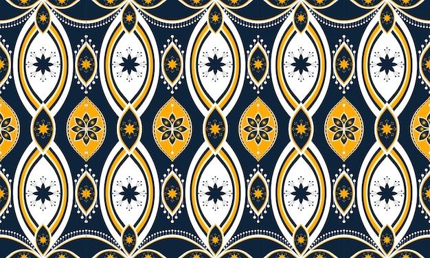 Bordado de padrão étnico geométrico. tapete, papel de parede, roupas, embrulho, batik, tecido, estilo de bordado de ilustração vetorial.